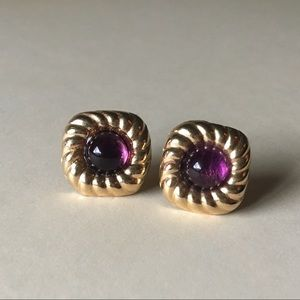 UP FOR TRADE 14k Amethyst Cabochon Earrings